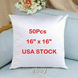 50 x White Sublimation Pillow Case Blanks Cushion Cover for Heat Press Transfer