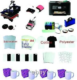 5in1 12x15 Pro Sublimation Machine Epson WF-3720 Printer CISS KIT Package