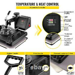6 in 1 Heat Press Machine for T-Shirts 12x15 Combo Kit Sublimation Swing away