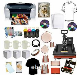 8in1 Combo Heat Transfer Press, Photo Printer Sublimation CISS Ink, T-shirts, Mugs