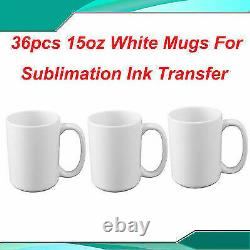 Sublimation Mugs White 15oz Coated Cup Blank Heat Press Printing Transfer 36PCS