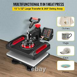 VEVOR Heat Press 11 in 1 Combo Sublimation Transfer Machine 15x12 Swing Away